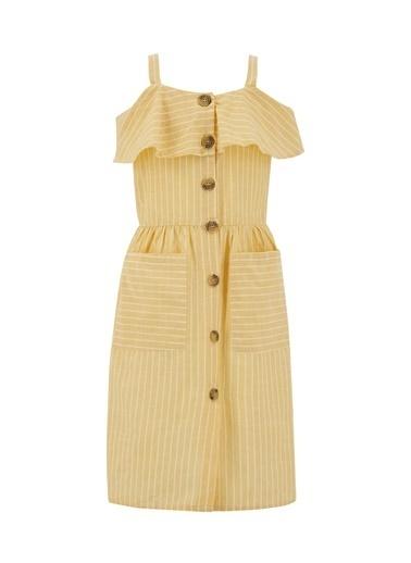 DeFacto Kız Çocuk Çizgi Desenli Askılı Dokuma Elbise Sarı